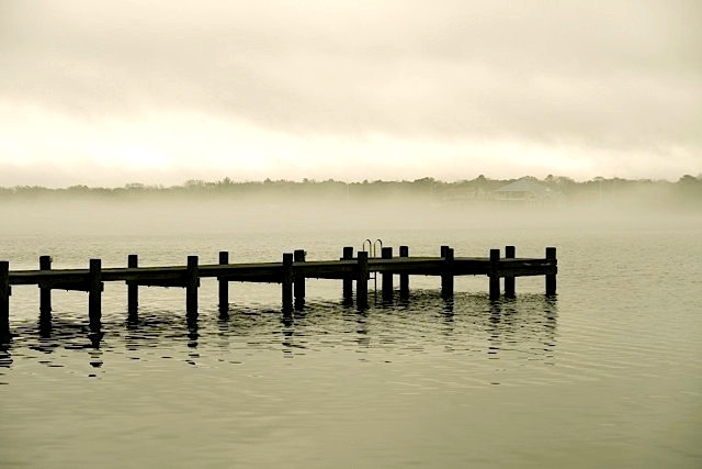 John Columbus - River Fog with Jetty