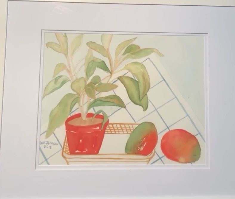 Dot Johnson-Red Potted plant in Basket w/Fruit